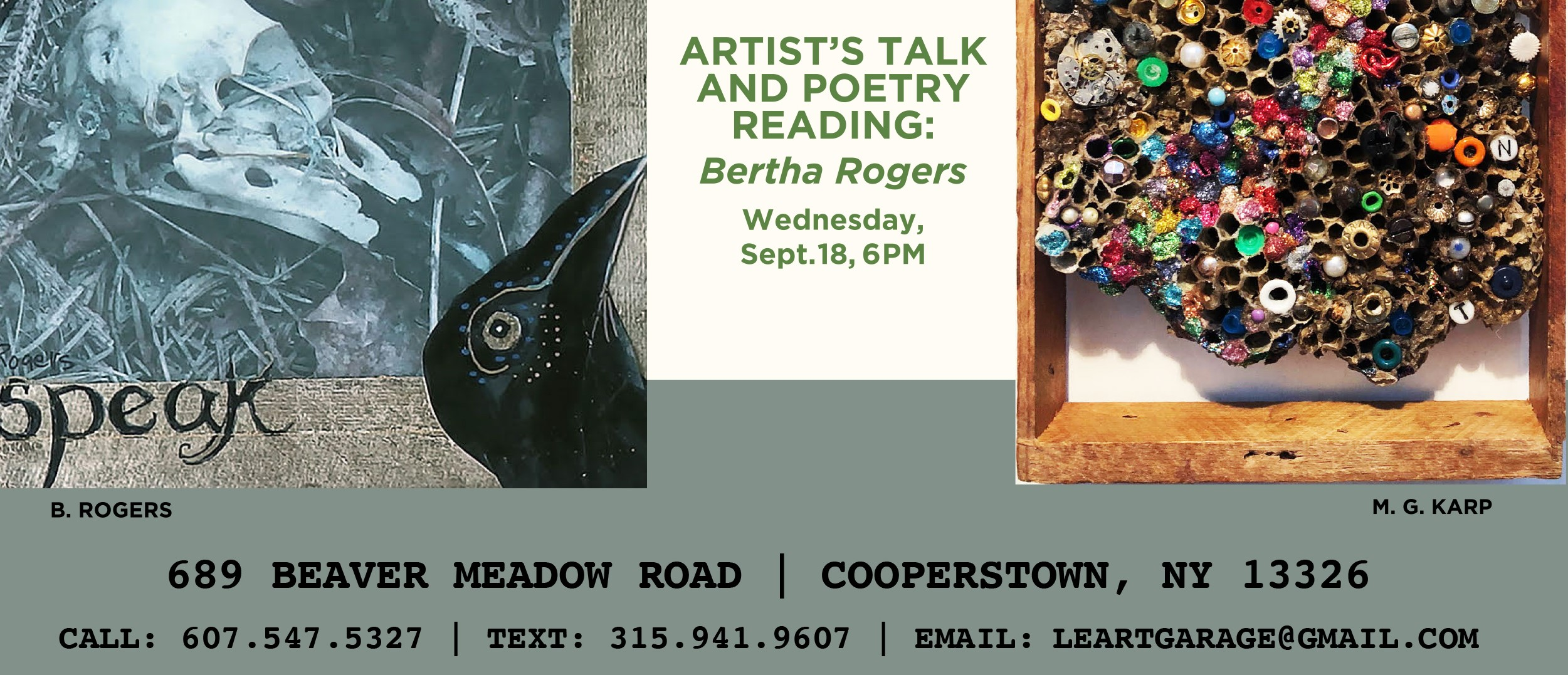 Artist's Talk and Poetry Reading: Bertha Rogers