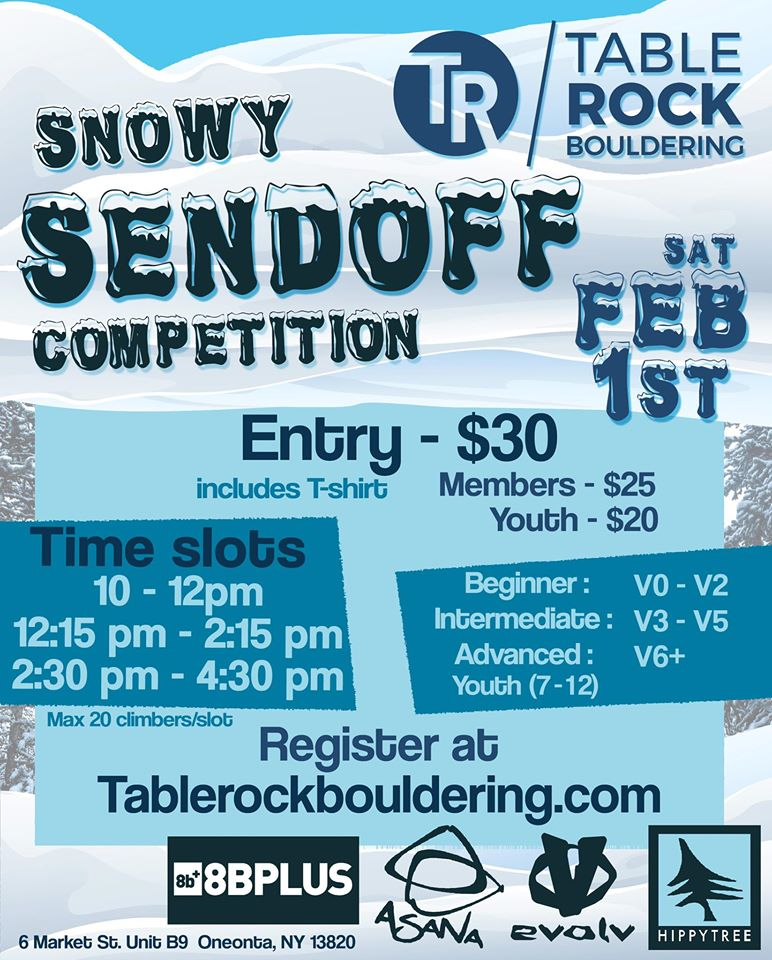 Snowy Sendoff Competition at Table Rock Bouldering